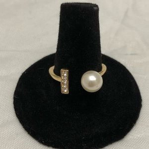 Gold Tone Open Faced Imitation Pearl Ring